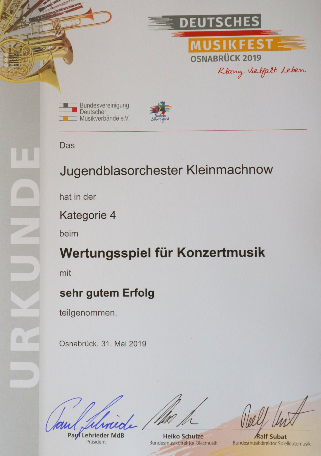 Jugendblasorchester Kleinmachnow - Events - Deutsches